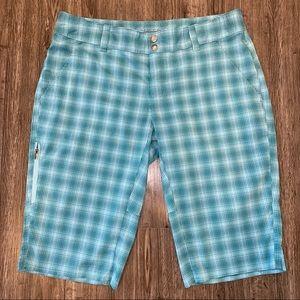 Columbia Omni-Wick Blue Green Plaid Hiking Shorts